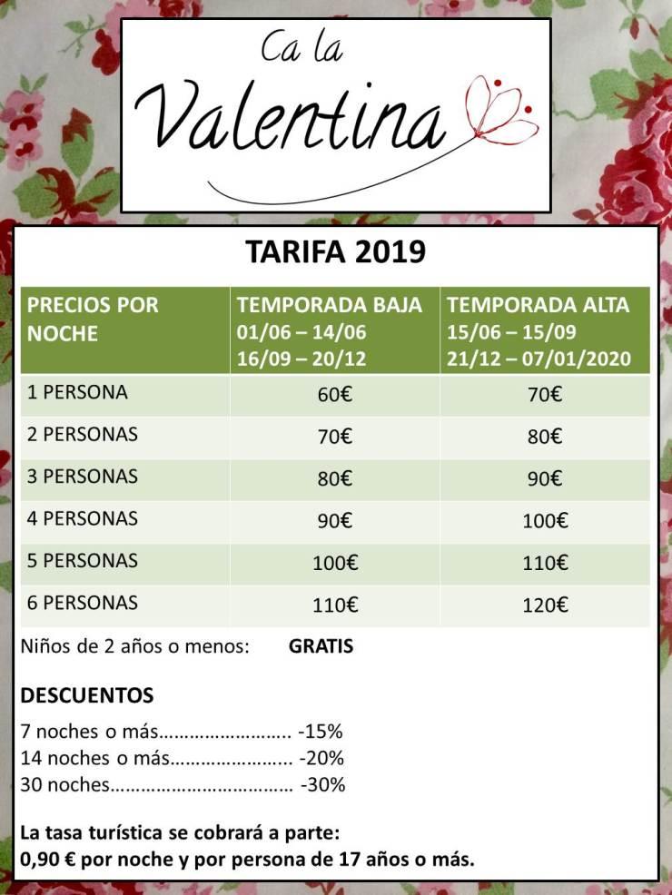 PRECIOS CA LA VALENTINA